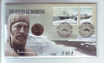2012 Sir Douglas Mawson 1882-1958 $1 Coin Antarctic Expedition Stamp Set PNC FDC