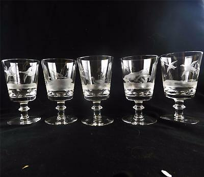 Set Of Five Royal Brierley Hunting Game Series Engraved Large Wine Glasses
