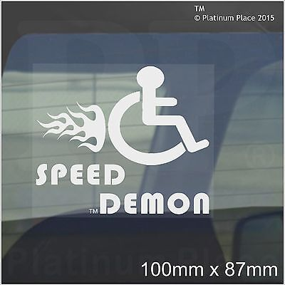 Speed Demon-Funny Joke Disabled Car,Van Sticker-Disability Driver Mobility Sign