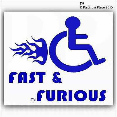 Fast and Furious-Funny Joke Disabled Car,Van Sticker-Disability Mobility Sign-BW
