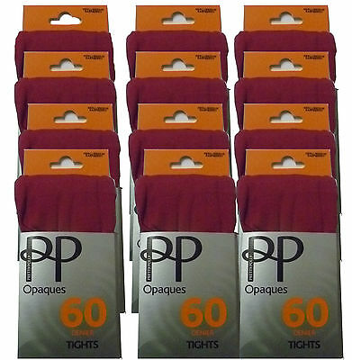 12 x Pairs Ladies Pretty Polly Raspberry 60 Denier Opaque Tights Job Lot