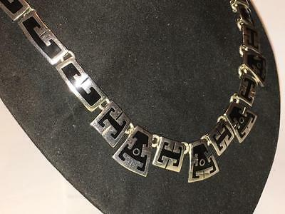 """Mexico Modernist Silver Mexican 925 Taxco  95G 18.5"""" Necklace Choker Jewellery"""