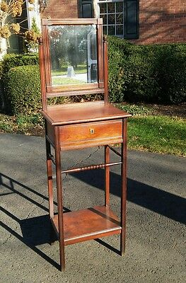 Antique Victorian Oak Gentleman's Shaving Stand Dressing Table