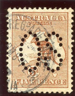 Australia 1913 'Roo' Official Stamp 5d chestnut (Die II) very fine used. SG O7.