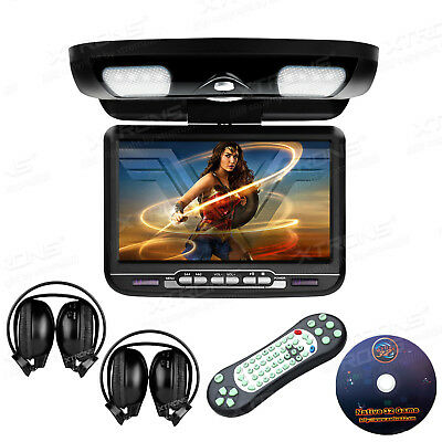 "Black 9"" LCD Car MPV SUV Entertainment Roof Flip Down DVD Player Game Headsets"