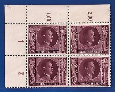 Adolf Hitler head birthday stamp block Nazi Germany 1943 Third 3rd Reich  MNH