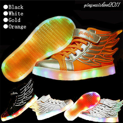 Kid Child LED Light Casual Laces Shoes Luminous Wings USB Sneakers For Boy Girl