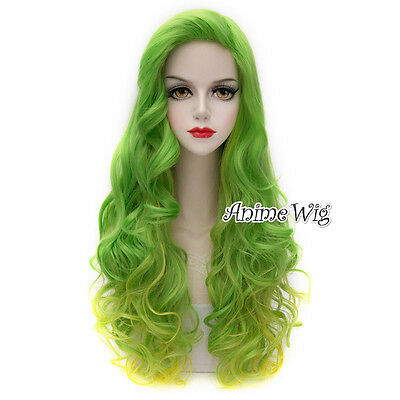 Lolita Green Mixed Yellow 75CM Long Curly Fashion Party Cosplay Wig + Wig Cap