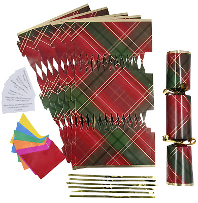 make your own christmas cracker kits / makes 6 crackers hats snaps jokes  mc
