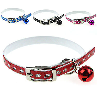 Newly Pet Dog Cat Collar Leather Rhinestone Safety Elastic With Bell Adjustable