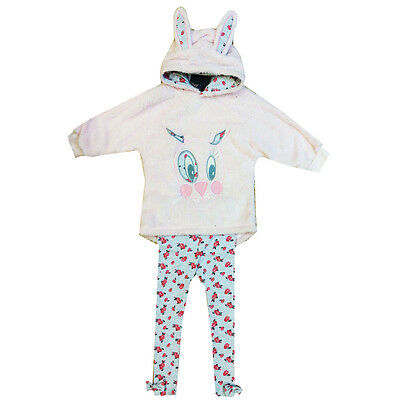 Girls Bunny Print Fleece Pullover And Legging Set Kids Warm Winter Set 1-5 Years