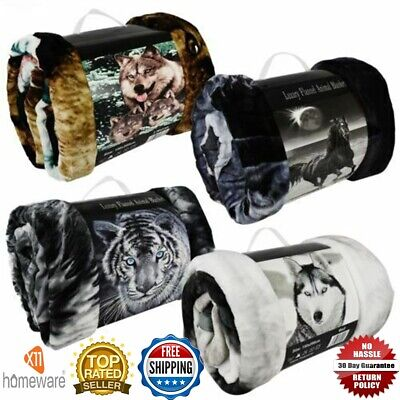 3D Animal Faux Fur Throw Double King Size Blanket Print Sofa Bed