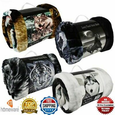 3D Faux Fur Throw Animal Print Blanket Double King Size For Sofa Bed New