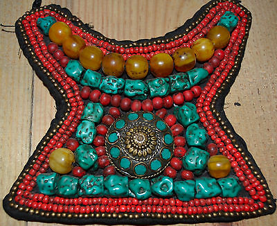 Tibetan Necklace Turquoise and Amber no real  Hand Made in Nepal .