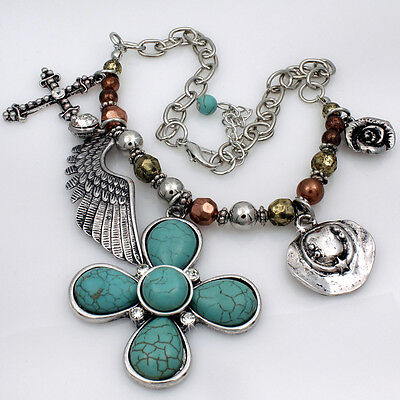 Turquoise Cross Wings Hat Rose Western Cowboy Cowgirl Boot Strap Anklet Jewelry