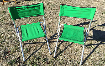 Vintage Pair of Green Canvas Camp Aluminum Chairs