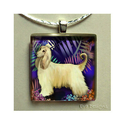 Afghan Hound Dog Moon Necklace Jewelry Pet Gift Art Glass Tile Pendant & Chain