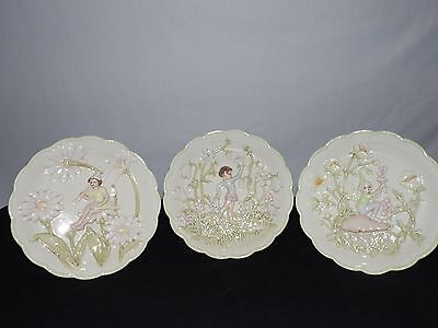 Vintage Decorative Porcelain Andrea By Sadek Fairy Elf Wall Plaques