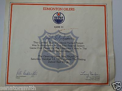 Wayne Gretzky 1st Edmonton Oilers NHL Home Game Oct. 13th 1979 Certificate Award
