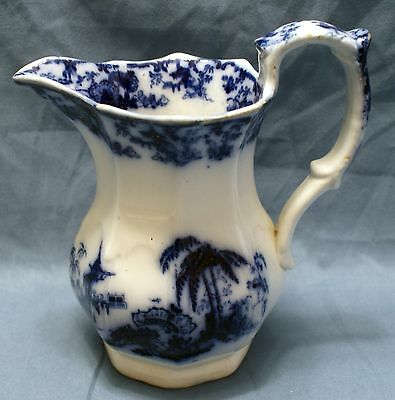 """Flow Blue Ironstone Early Victorian Creamer """"SHANTONG"""" by Dimmock & Smith (DS)"""