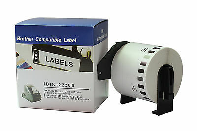 Brother Compatible DK22205 Printer Labels 62mm X 30.48m Roll+Spool for QL570