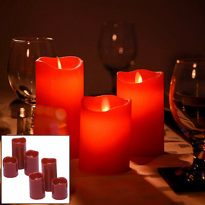 6Pc Red Flickering Flame Led Flameless Real Wax Mood Candles Batteries Included