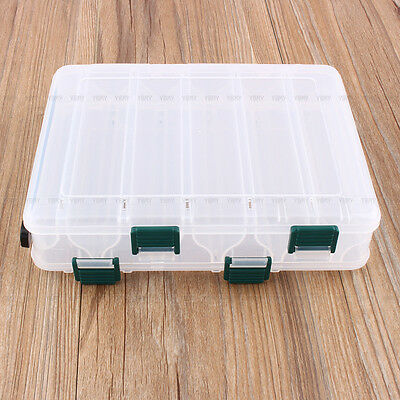12 Compartment Fishing Lures Box Tackle Two-Sided Storage Plastic Drain Hole Fly