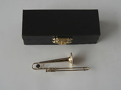 MINIATURE COLLECTABLE METAL TROMBONE 8cm IN CASE - 1/12TH SCALE -  NEW/ BOXED