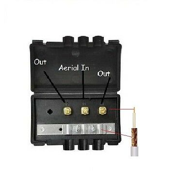 External 2 way Weatherproof TV Coax Aerial Splitter - Feed 2 TV's from One Cable