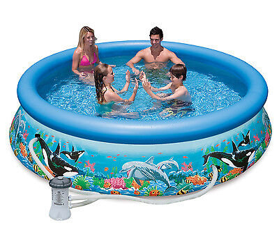 """Intex 10' x 30"""" Easy Set Kids Inflatable Above Ground Swimming Pool with Pump"""