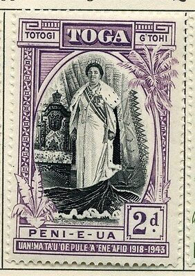 TONGA;   1944 early Silver Jubilee issue fine Mint hinged 2d. value