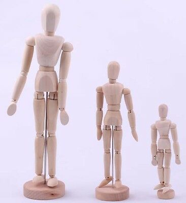 """Reeves Artists Wooden Manikin Mannequin Lay Figure Moveable Bendy Man 8"""" 12"""" 16"""""""