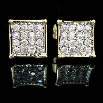 NEW!! $59 Mens Small 14k Gold Gp Simulated Lab Diamond iced out Hip Hop Earrings
