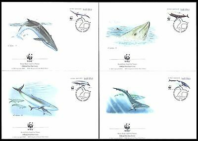 South Africa 1998 WWF Cetaceans Whales Set of 4 FDC