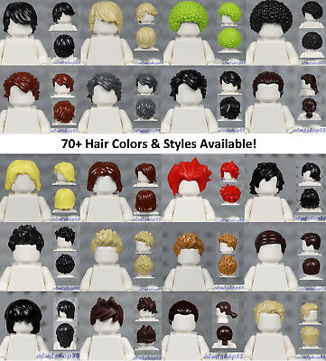LEGO - MALE Hair Pieces - PICK COLORS & STYLE - Minifigure Wigs Hat Cap Town Cty