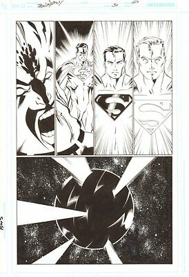 Trinity #50 p.20 - Superman and Krona - 2009 art by/signed by Mark Bagley