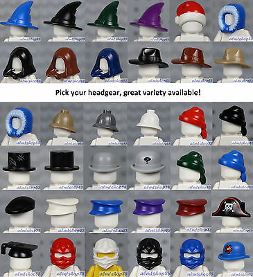 LEGO - Minifigure Hats - PICK YOUR HEADGEAR - Police Pirate Bandana Top Army Lot