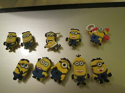 Silicon shoe charms for silicon bracelet or fit crocs-minions- 2 per purchase