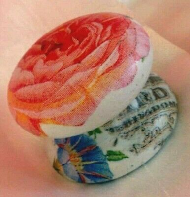 Graceful Peach Peony Rose French Script Large Cabinet Dresser Knob Drawer Pull