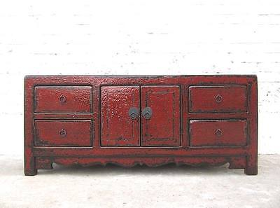 China kleines Sideboard Kommode rotbraun Antikfinish Pinie Vollholz