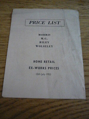 MORRIS, MG, RILEY & WOLSELEY PRICE LIST CAR BROCHURE 1955 jm