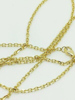 "14k Solid Yellow Gold High Polish Cable Link Pendant Necklace Chain 24"" 1.8mm"