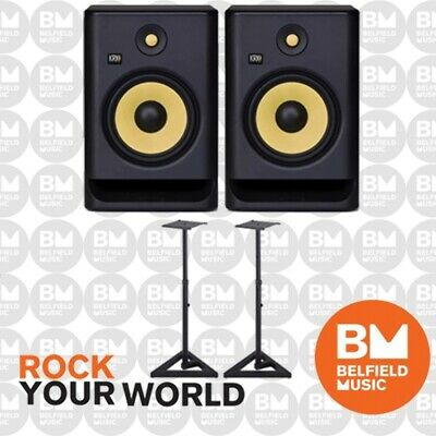 2 x KRK Rokit 8 G4 Pack w/ SKS39B Stands Powered Active Monitor Speaker 8""