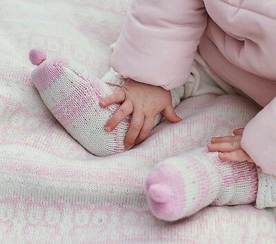 Pottery Barn Kids Baby Booties Pink & Ivory Jersey Lined NWOT