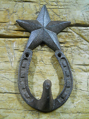 3 Cast Iron Rustic Ranch STAR 1 HOOK Coat Hooks Rack Towel HorseShoe