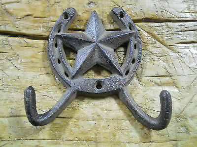 3 Cast Iron Rustic Ranch STAR 2 HOOK Coat Hooks Rack Towel HorseShoe