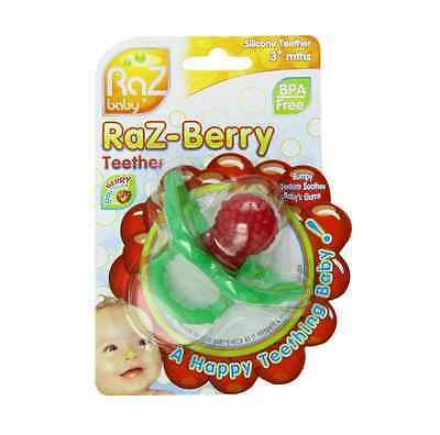 Red and Green Strawberry RaZbaby RaZ Fresa Teether Toy 3 Count