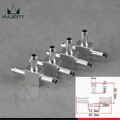 4pcs Aluminum 3 Way T Tubing Tee Vacuum Connector water air pipe Joiner Silver