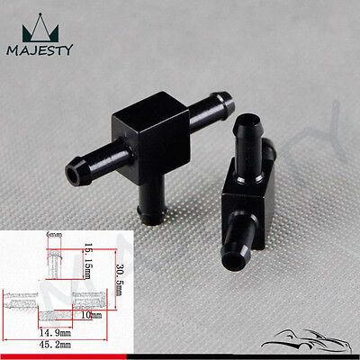 2pcs Aluminum 3 Way T Tubing Tee Vacuum Connector water air pipe Joiner Black