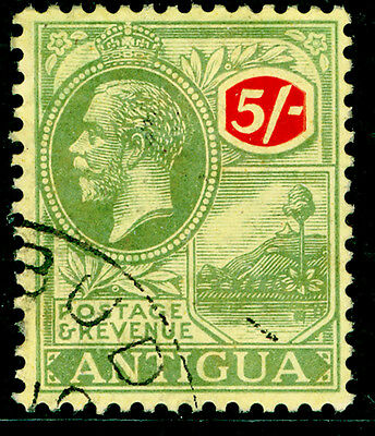 ANTIGUA SG60, 5s green & red/pale yellow, FINE USED, CDS. Cat £50.